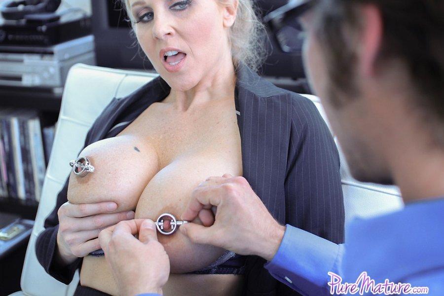 Cock on mature nipple
